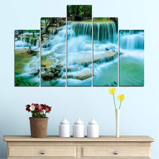 Canvas prints & wall decorative panels - 5 pieces №0179 » Turquoise, Green, Black, Gray, Dark grey » Nature, Waterfall, Landscape, Forest, Water Form #5