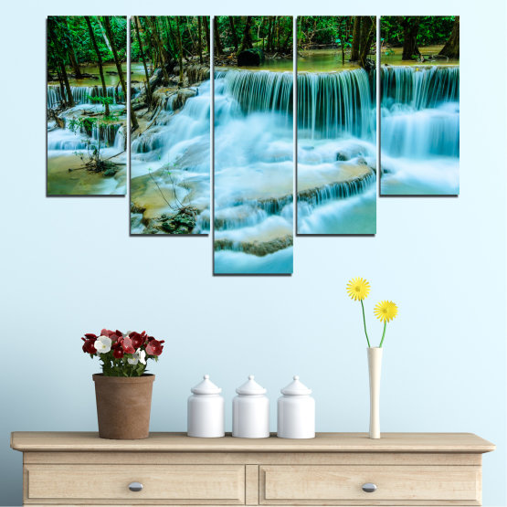 Canvas prints & wall decorative panels - 5 pieces №0179 » Turquoise, Green, Black, Gray, Dark grey » Nature, Waterfall, Landscape, Forest, Water Form #6