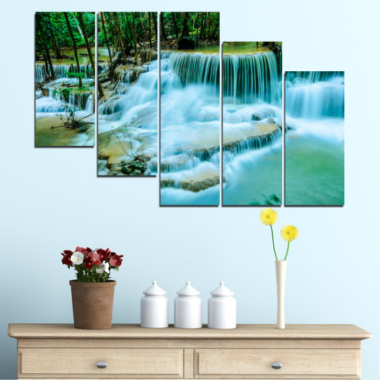 Canvas prints & wall decorative panels - 5 pieces №0179 » Turquoise, Green, Black, Gray, Dark grey » Nature, Waterfall, Landscape, Forest, Water Form #7