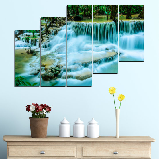 Canvas prints & wall decorative panels - 5 pieces №0179 » Turquoise, Green, Black, Gray, Dark grey » Nature, Waterfall, Landscape, Forest, Water Form #8