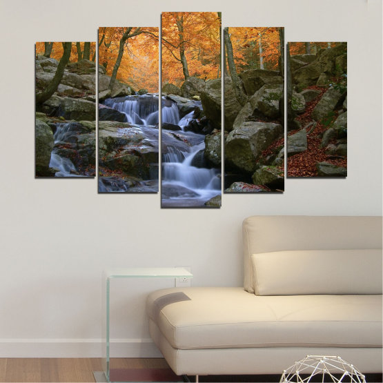 Canvas prints & wall decorative panels - 5 pieces №0018 » Brown, Black, Gray, Dark grey » Water, Waterfall, Forest, Autumn, Rocks Form #1