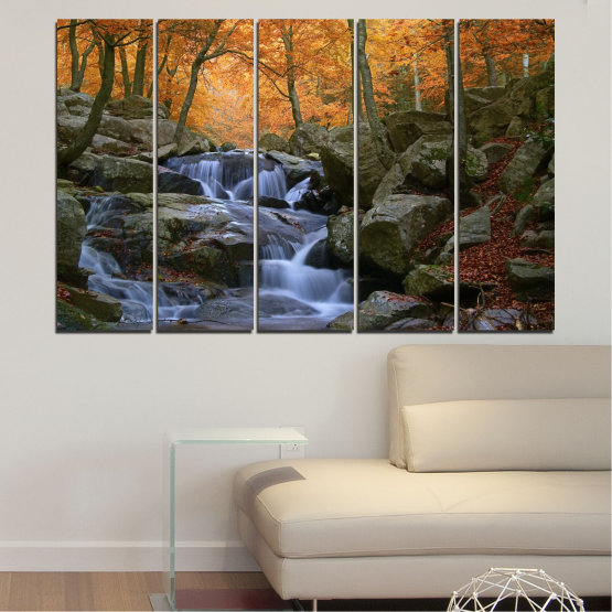 Canvas prints & wall decorative panels - 5 pieces №0018 » Brown, Black, Gray, Dark grey » Water, Waterfall, Forest, Autumn, Rocks Form #2