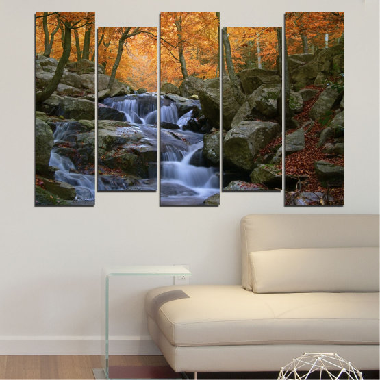 Canvas prints & wall decorative panels - 5 pieces №0018 » Brown, Black, Gray, Dark grey » Waterfall, Water, Forest, Autumn, Rocks Form #3