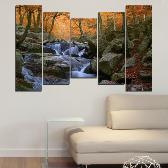 Canvas prints & wall decorative panels - 5 pieces №0018 » Brown, Black, Gray, Dark grey » Water, Waterfall, Forest, Autumn, Rocks Form #4