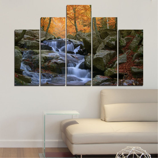 Canvas prints & wall decorative panels - 5 pieces №0018 » Brown, Black, Gray, Dark grey » Water, Waterfall, Forest, Autumn, Rocks Form #5