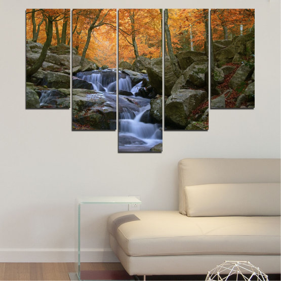 Canvas prints & wall decorative panels - 5 pieces №0018 » Brown, Black, Gray, Dark grey » Waterfall, Water, Forest, Autumn, Rocks Form #6