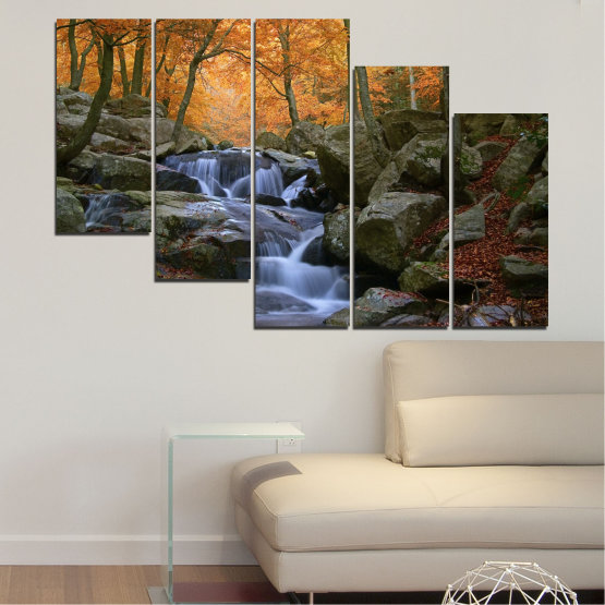 Canvas prints & wall decorative panels - 5 pieces №0018 » Brown, Black, Gray, Dark grey » Water, Waterfall, Forest, Autumn, Rocks Form #7