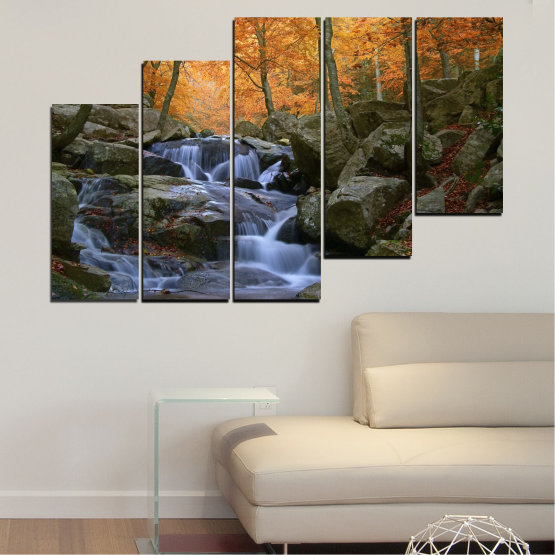 Canvas prints & wall decorative panels - 5 pieces №0018 » Brown, Black, Gray, Dark grey » Waterfall, Water, Forest, Autumn, Rocks Form #8