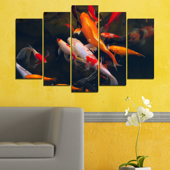 Canvas prints & wall decorative panels - 5 pieces №0180 » Red, Orange, Brown, Black, Dark grey » Sea, Water, Fish Form #1
