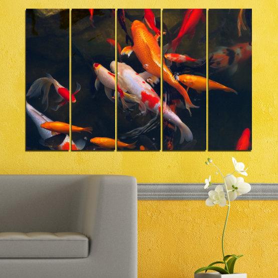 Декоративни панели и картини от канава - от 5 части №0180 » Червен, Оранжев, Кафяв, Черен, Тъмно сив » Море, Вода, Риба Form #2
