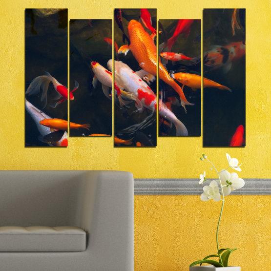Декоративни панели и картини от канава - от 5 части №0180 » Червен, Оранжев, Кафяв, Черен, Тъмно сив » Море, Вода, Риба Form #3