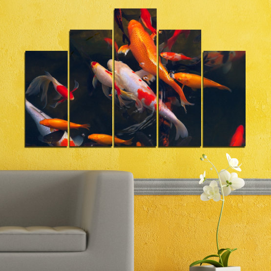 Canvas prints & wall decorative panels - 5 pieces №0180 » Red, Orange, Brown, Black, Dark grey » Sea, Water, Fish Form #5