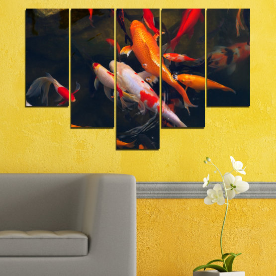 Canvas prints & wall decorative panels - 5 pieces №0180 » Red, Orange, Brown, Black, Dark grey » Sea, Water, Fish Form #6