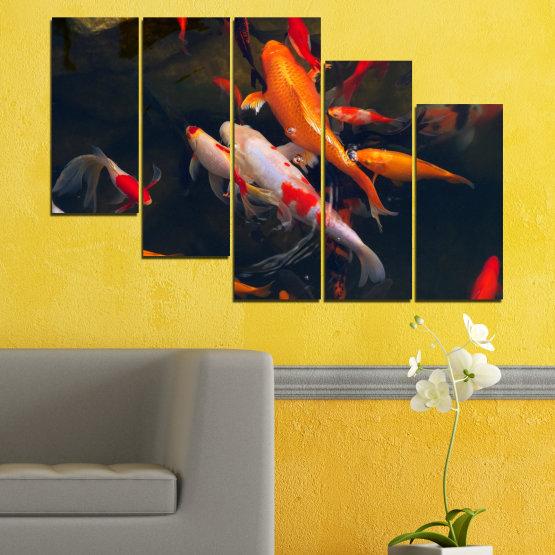 Декоративни панели и картини от канава - от 5 части №0180 » Червен, Оранжев, Кафяв, Черен, Тъмно сив » Море, Вода, Риба Form #7