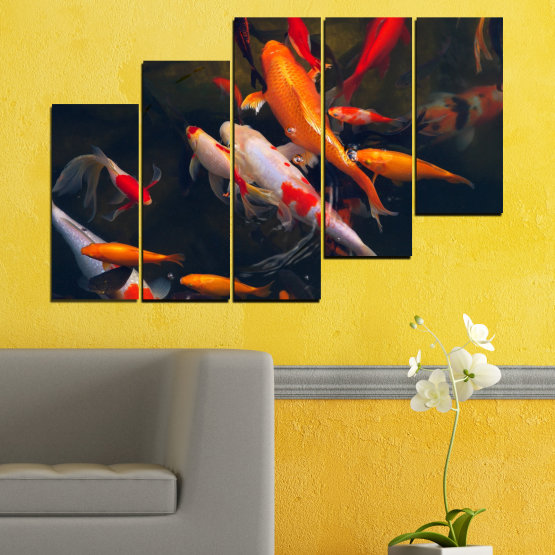 Canvas prints & wall decorative panels - 5 pieces №0180 » Red, Orange, Brown, Black, Dark grey » Sea, Water, Fish Form #8