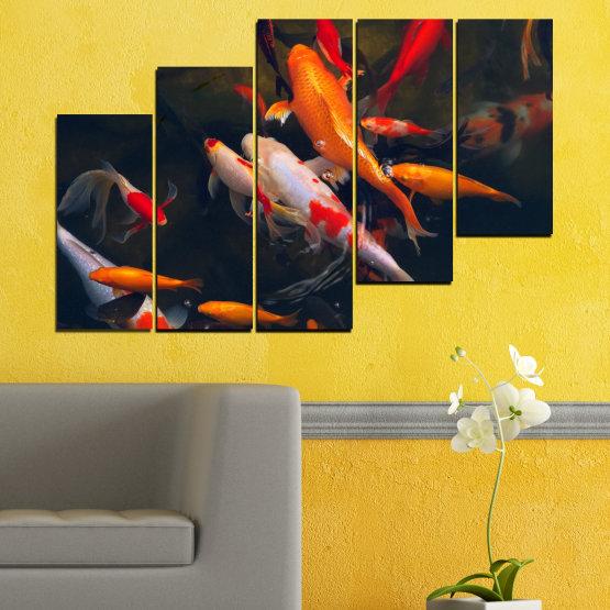 Декоративни панели и картини от канава - от 5 части №0180 » Червен, Оранжев, Кафяв, Черен, Тъмно сив » Море, Вода, Риба Form #8