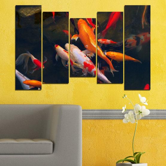 Декоративни панели и картини от канава - от 5 части №0180 » Червен, Оранжев, Кафяв, Черен, Тъмно сив » Море, Вода, Риба Form #4