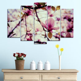 Flowers, Tree, Spring » Pink, Purple, Black, Gray, Beige, Milky pink