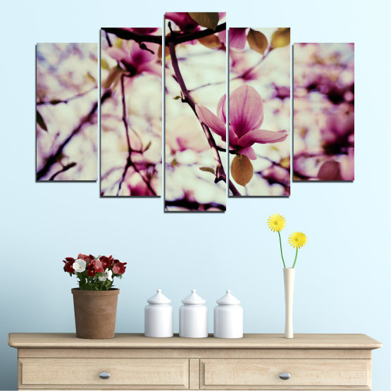 Canvas prints & wall decorative panels - 5 pieces №0181 » Pink, Purple, Black, Gray, Beige, Milky pink » Flowers, Spring, Tree Form #1