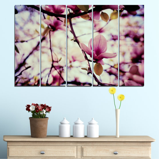 Canvas prints & wall decorative panels - 5 pieces №0181 » Pink, Purple, Black, Gray, Beige, Milky pink » Flowers, Tree, Spring Form #2