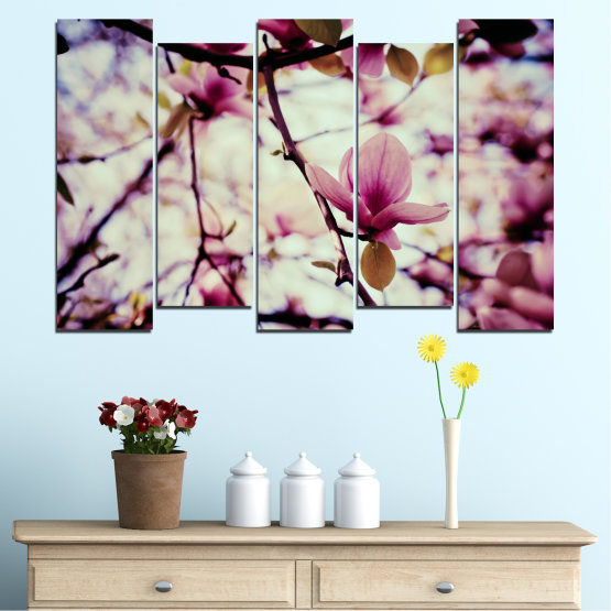 Canvas prints & wall decorative panels - 5 pieces №0181 » Pink, Purple, Black, Gray, Beige, Milky pink » Flowers, Spring, Tree Form #3
