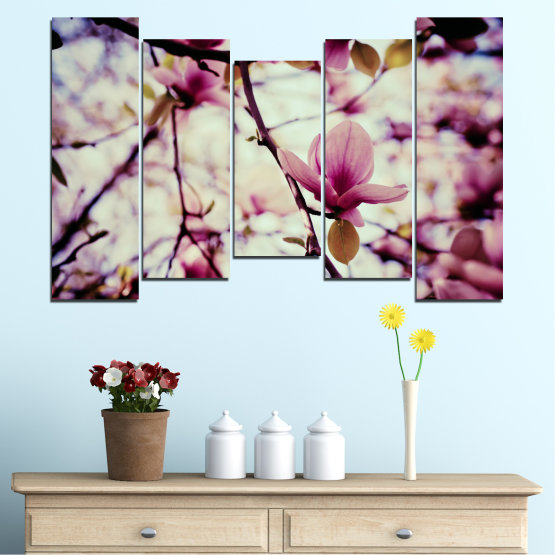 Canvas prints & wall decorative panels - 5 pieces №0181 » Pink, Purple, Black, Gray, Beige, Milky pink » Flowers, Spring, Tree Form #4