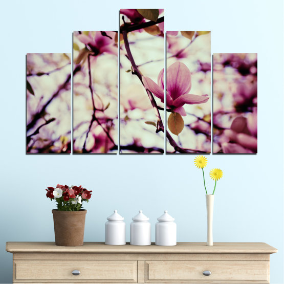 Canvas prints & wall decorative panels - 5 pieces №0181 » Pink, Purple, Black, Gray, Beige, Milky pink » Flowers, Tree, Spring Form #5