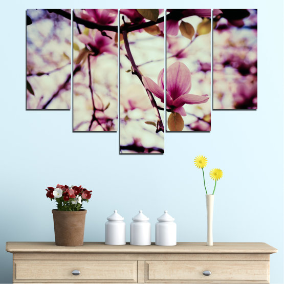 Canvas prints & wall decorative panels - 5 pieces №0181 » Pink, Purple, Black, Gray, Beige, Milky pink » Flowers, Spring, Tree Form #6
