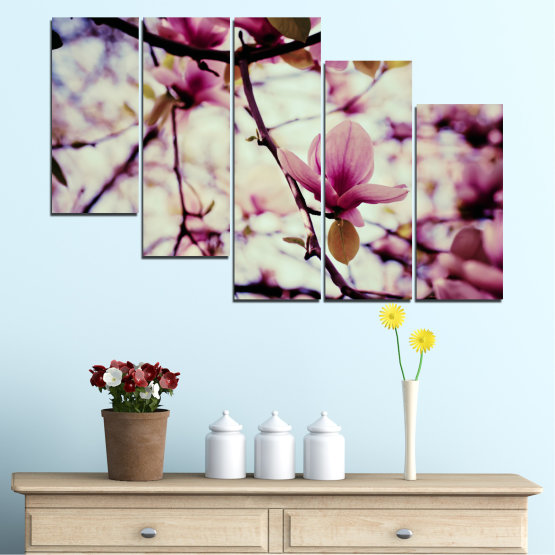 Canvas prints & wall decorative panels - 5 pieces №0181 » Pink, Purple, Black, Gray, Beige, Milky pink » Flowers, Spring, Tree Form #7