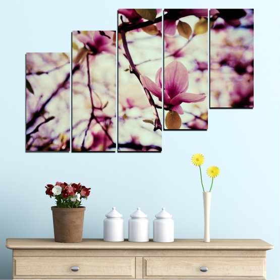 Canvas prints & wall decorative panels - 5 pieces №0181 » Pink, Purple, Black, Gray, Beige, Milky pink » Flowers, Spring, Tree Form #8