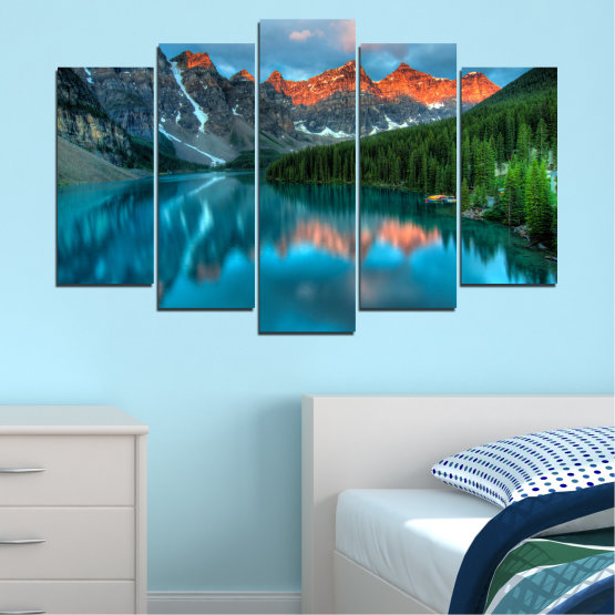 Canvas prints & wall decorative panels - 5 pieces №0182 » Blue, Turquoise, Green, Orange, Black, Dark grey » Nature, Freshness, Forest, Mountain, Lake, Reflection Form #1