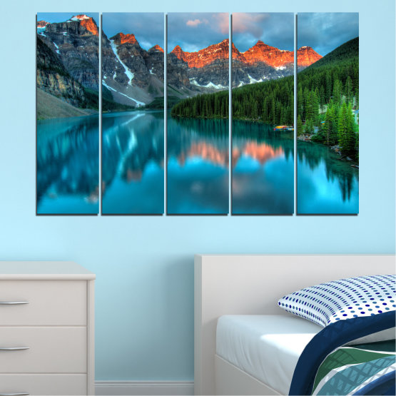 Canvas prints & wall decorative panels - 5 pieces №0182 » Blue, Turquoise, Green, Orange, Black, Dark grey » Nature, Freshness, Forest, Mountain, Lake, Reflection Form #2
