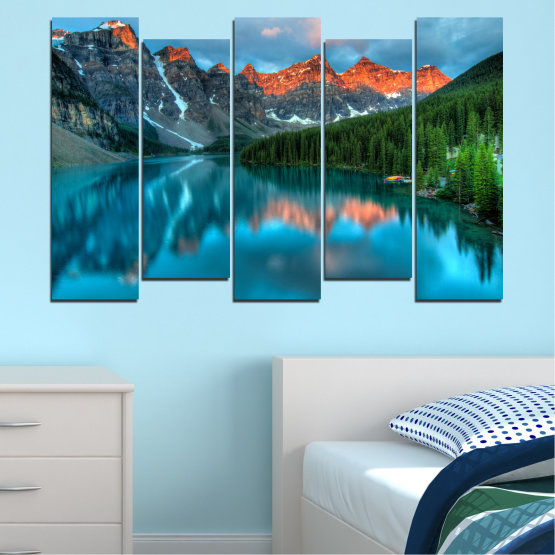 Canvas prints & wall decorative panels - 5 pieces №0182 » Blue, Turquoise, Green, Orange, Black, Dark grey » Nature, Freshness, Forest, Mountain, Lake, Reflection Form #3