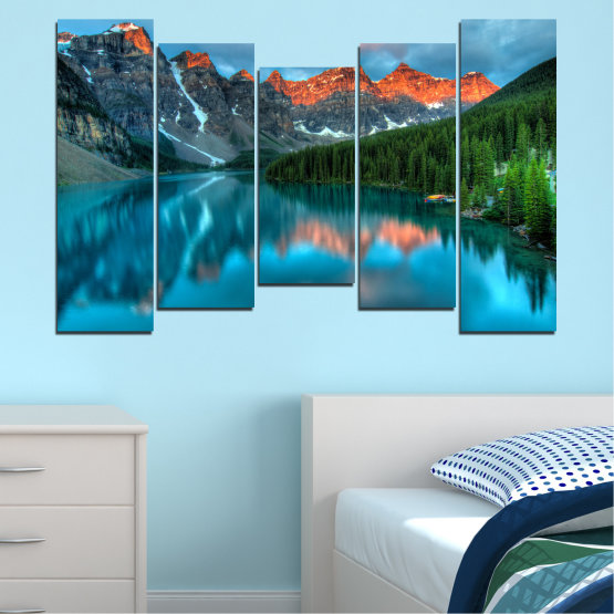 Canvas prints & wall decorative panels - 5 pieces №0182 » Blue, Turquoise, Green, Orange, Black, Dark grey » Nature, Freshness, Forest, Mountain, Lake, Reflection Form #4