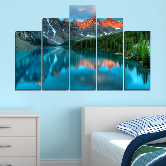 Canvas prints & wall decorative panels - 5 pieces №0182 » Blue, Turquoise, Green, Orange, Black, Dark grey » Nature, Freshness, Forest, Mountain, Lake, Reflection Form #5