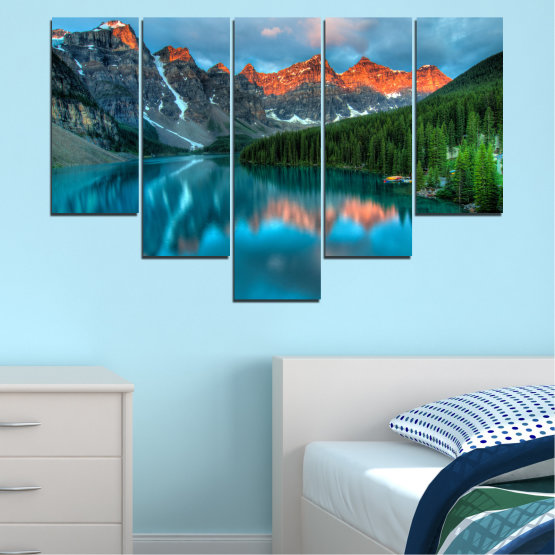 Canvas prints & wall decorative panels - 5 pieces №0182 » Blue, Turquoise, Green, Orange, Black, Dark grey » Nature, Freshness, Forest, Mountain, Lake, Reflection Form #6