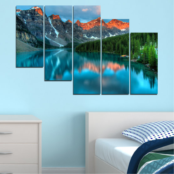 Canvas prints & wall decorative panels - 5 pieces №0182 » Blue, Turquoise, Green, Orange, Black, Dark grey » Nature, Freshness, Forest, Mountain, Lake, Reflection Form #7