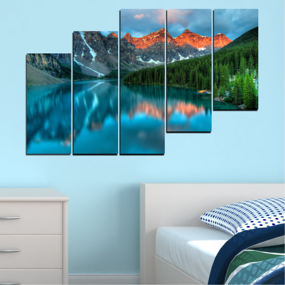 Canvas prints & wall decorative panels - 5 pieces №0182 » Blue, Turquoise, Green, Orange, Black, Dark grey » Nature, Freshness, Forest, Mountain, Lake, Reflection Form #8