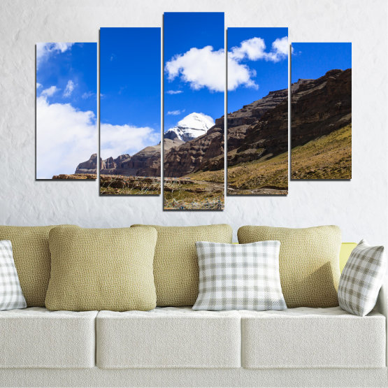 Canvas prints & wall decorative panels - 5 pieces №0183 » Blue, Brown, Black, White, Dark grey » Nature, Landscape, Mountain, Landmark, Tibet, Kailash, Buddha Form #1