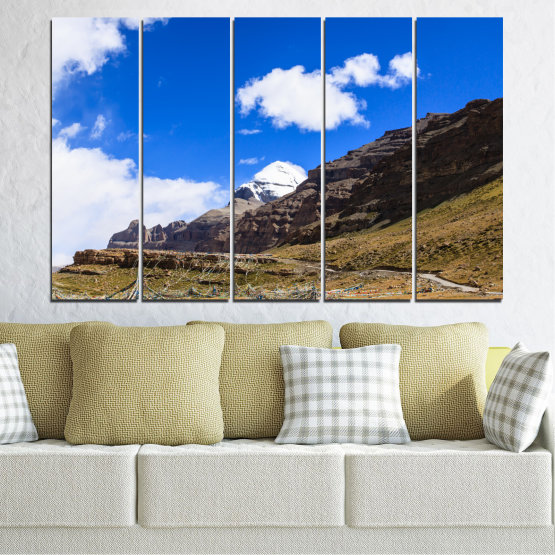 Canvas prints & wall decorative panels - 5 pieces №0183 » Blue, Brown, Black, White, Dark grey » Nature, Landscape, Mountain, Landmark, Tibet, Kailash, Buddha Form #2