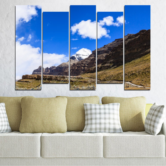 Canvas prints & wall decorative panels - 5 pieces №0183 » Blue, Brown, Black, White, Dark grey » Nature, Landscape, Mountain, Landmark, Tibet, Kailash, Buddha Form #3