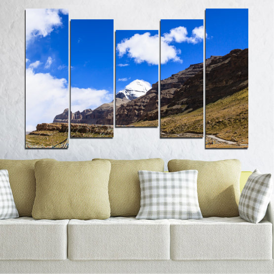 Canvas prints & wall decorative panels - 5 pieces №0183 » Blue, Brown, Black, White, Dark grey » Nature, Landscape, Mountain, Landmark, Tibet, Kailash, Buddha Form #4