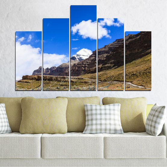 Canvas prints & wall decorative panels - 5 pieces №0183 » Blue, Brown, Black, White, Dark grey » Nature, Landscape, Mountain, Landmark, Tibet, Kailash, Buddha Form #5