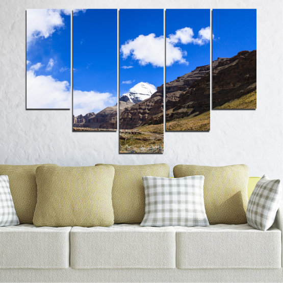 Canvas prints & wall decorative panels - 5 pieces №0183 » Blue, Brown, Black, White, Dark grey » Nature, Landscape, Mountain, Landmark, Tibet, Kailash, Buddha Form #6