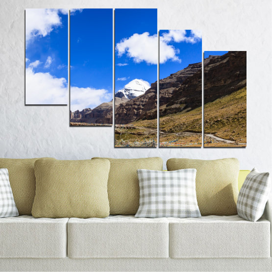 Canvas prints & wall decorative panels - 5 pieces №0183 » Blue, Brown, Black, White, Dark grey » Nature, Landscape, Mountain, Landmark, Tibet, Kailash, Buddha Form #7