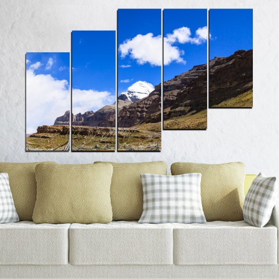Canvas prints & wall decorative panels - 5 pieces №0183 » Blue, Brown, Black, White, Dark grey » Nature, Landscape, Mountain, Landmark, Tibet, Kailash, Buddha Form #8
