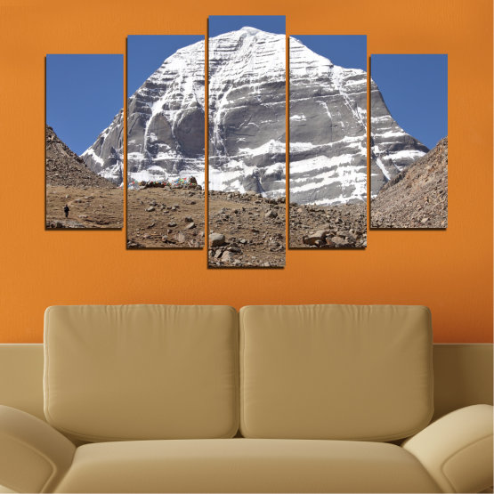 Canvas prints & wall decorative panels - 5 pieces №0184 » Blue, Gray, White, Dark grey » Nature, Mountain, Landmark, Kailash, Buddha Form #1