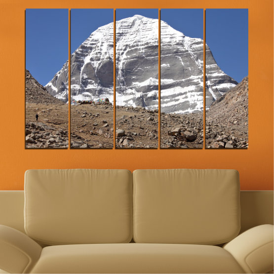 Canvas prints & wall decorative panels - 5 pieces №0184 » Blue, Gray, White, Dark grey » Nature, Mountain, Landmark, Kailash, Buddha Form #2