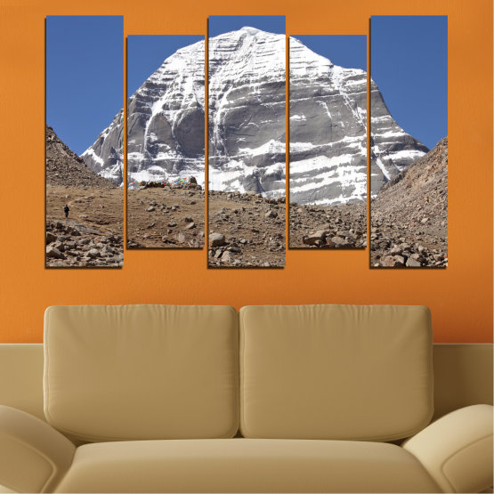 Canvas prints & wall decorative panels - 5 pieces №0184 » Blue, Gray, White, Dark grey » Nature, Mountain, Landmark, Kailash, Buddha Form #3