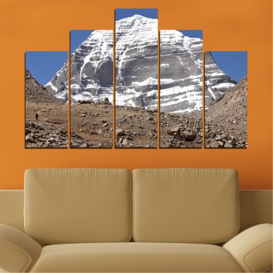 Canvas prints & wall decorative panels - 5 pieces №0184 » Blue, Gray, White, Dark grey » Nature, Mountain, Landmark, Kailash, Buddha Form #5